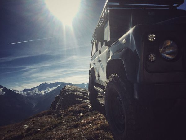 Land Rover Defender Off Road Sunlight No People Nature Day Mountain Landscape Outdoors Sky