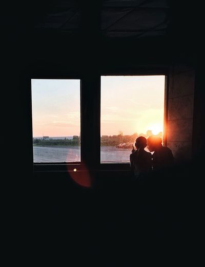 Little talks Airport Waiting Sunrays Sunset Girls Kids Window Sky Sunset Sea Water Nature Silhouette Glass - Material Orange Color Horizon Land Cloud - Sky