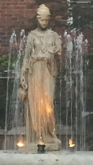 While looking through the gates of a previously owned building of the Queen of England nestled in the neighborhood of Edgewater in Chicago I saw a beautiful fountain. Statue Sculpture Creativity Outdoors ArtWork Cityscape Chicago Pspauly63