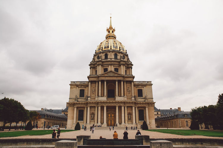 People outside les invalides quarter in city