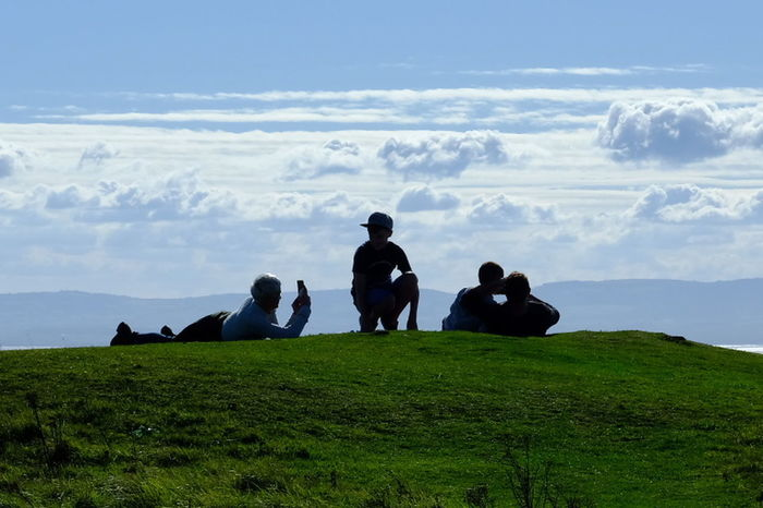 Grass Silhouette Togetherness Sky Cloud - Sky Hiking People Nature Day Vacations Outdoors Lost In The Landscape