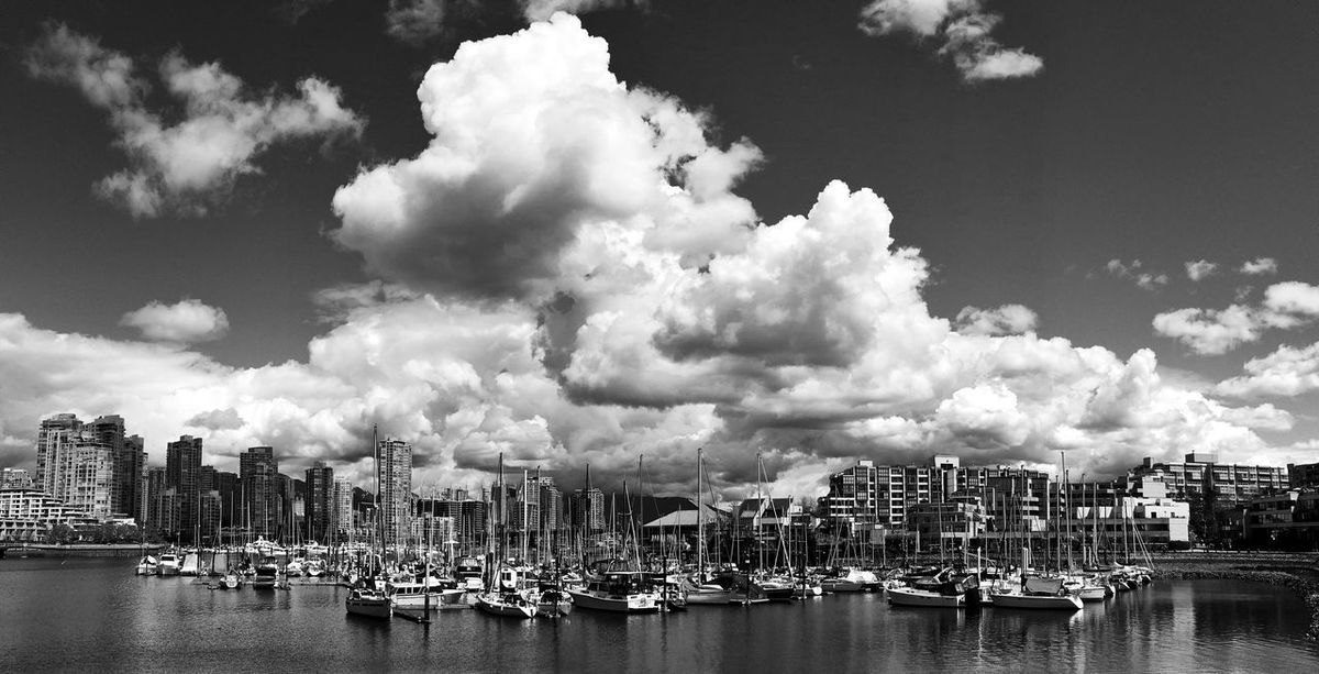 A dramatic cloud formation hovering above the Heather Civic Marina in False Creek, Vancouver, BC. Black And White Collection  Black And White Photography Cityscape Cityscapes_collection Cloud Cloud - Sky Dramatic Clouds Dramatic Sky Dramatic Skyscape False Creek Marina Sky Transportation Urban Landscape Vancouver Waterfront Yatch Yatch Marine