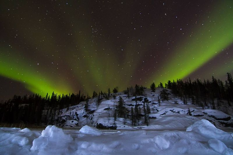 Northern lights Snow Cold Temperature Winter Night Ice Mountain Star - Space Landscape Aurora Polaris Astronomy Beauty In Nature Illuminated Scenics Nature No People Space Forest Green Color Polar Climate Frozen