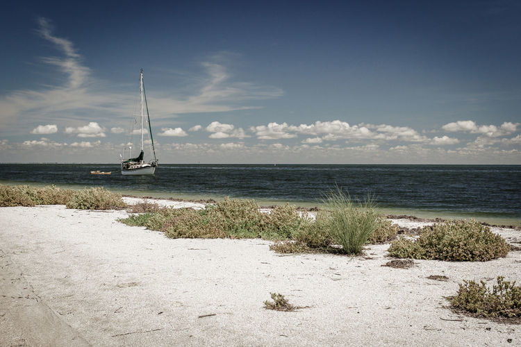 Beach & Boat Beach Beauty In Nature Cloud - Sky Day Horizon Over Water Mast Nature Nautical Vessel No People Outdoors Sailboat Sailing Sand Scenics Sea Sky Tranquil Scene Tranquility Travel Destinations Vacations Water An Eye For Travel