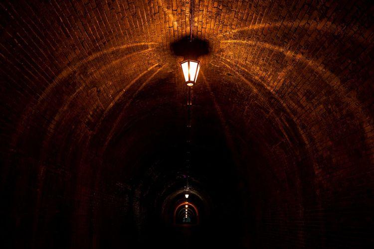 Illuminated light in tunnel