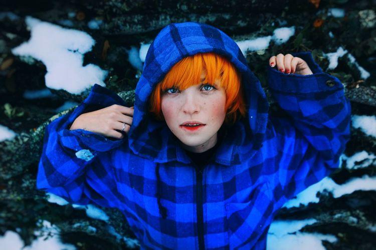 Portrait Of Woman Wearing Blue Hood Clothing