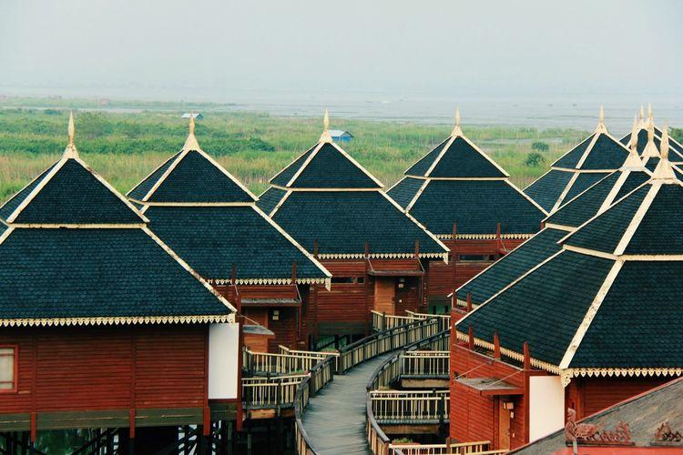 architecture buildings Sky Landscape Stilt House Myanmar Culture Hut
