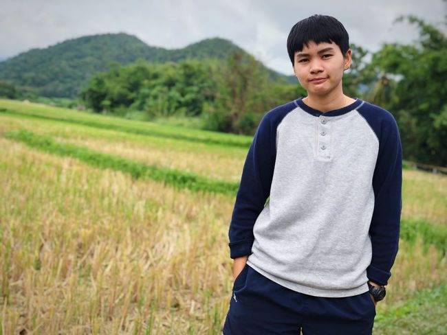 One Person Standing Field Land Young Adult Real People Plant