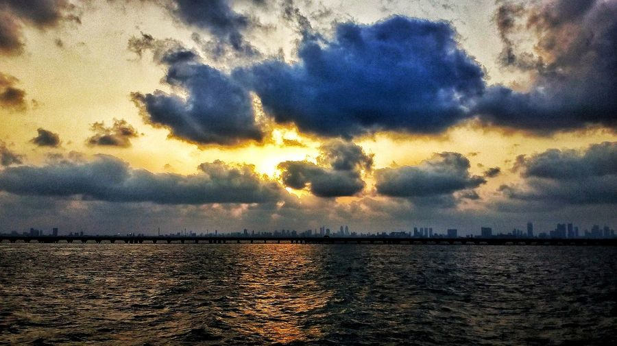 Sunset Sky Cloud - Sky Water Nature Reflection Beauty In Nature Outdoors Sea Silhouette Evening Clouds Sea And Sky India Indian Ocean Mumbai Satish Moto PhonePhotography
