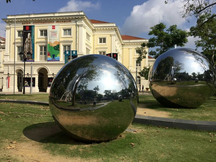 Architecture Asian Civilization Museum Building Exterior Built Structure City City Life Cloud - Sky Day Exhibition Footpath History Lawn Mirror Balls Outdoors Reflection Singapore Sky Transportation Tree Two Is Better Than One