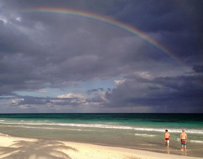A Rainbow showed up at the beach today. Lucky us! ?