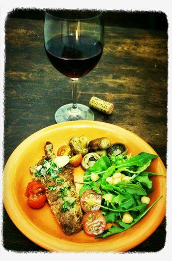 Latedinner: Meat, Salad and Mushrooms