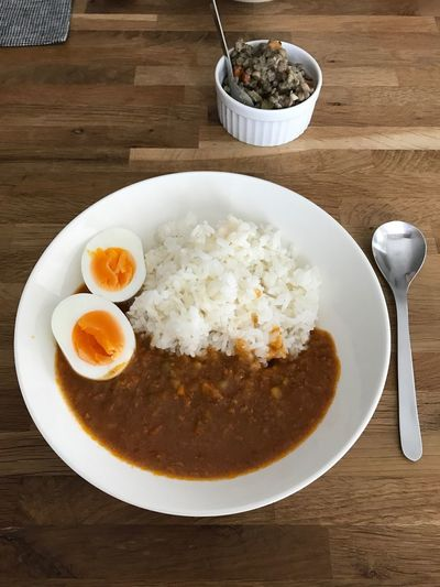 Today's lunch. Ready-to-eat Food Freshness Table Healthy Eating Plate Bowl Food And Drink Serving Size Meal Indoors  No People Close-up Temptation Egg Yolk Day Horizontal Photography EyeEm Curry Lunch