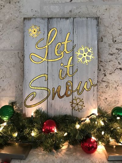 Holidays Snow ❄ Snow Christmas Lights Sign Christmas Ornament Indoors  Tree Close-up Day