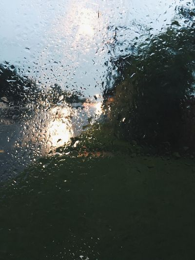 Close-up of water drops on glass