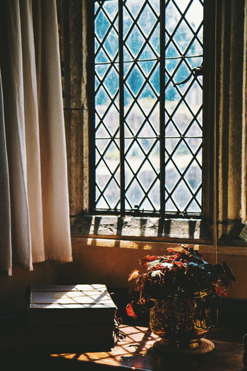 And the rest - National Trust Ightham Mote Light And Shadow Curtain Window Blinds Stained Glass Window Sill Potted Plant Houseplant