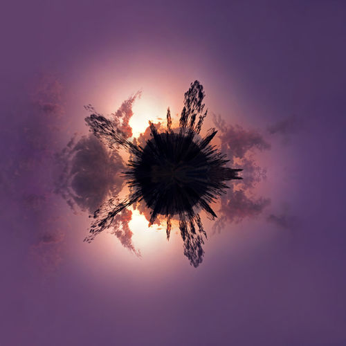 Sunset in a 360 panorama 360 Panorama Trees Clouds Day Nature Night No People Outdoors Panoplanet Purple Silhouette Sky Sunset Sunsets