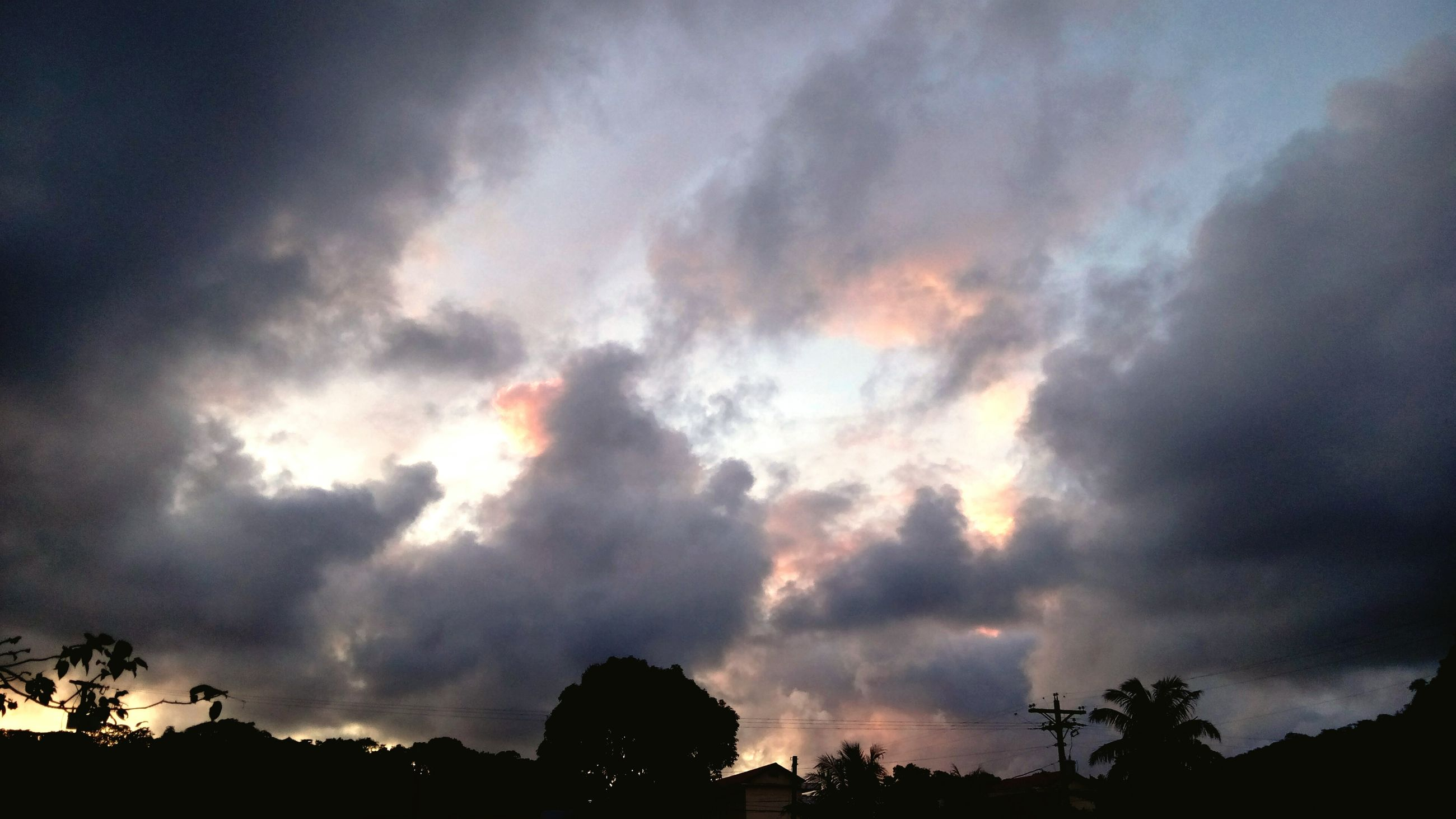 sky, cloud - sky, silhouette, cloudy, beauty in nature, tree, low angle view, tranquility, scenics, tranquil scene, overcast, weather, nature, dramatic sky, cloud, cloudscape, sunset, storm cloud, idyllic, atmospheric mood