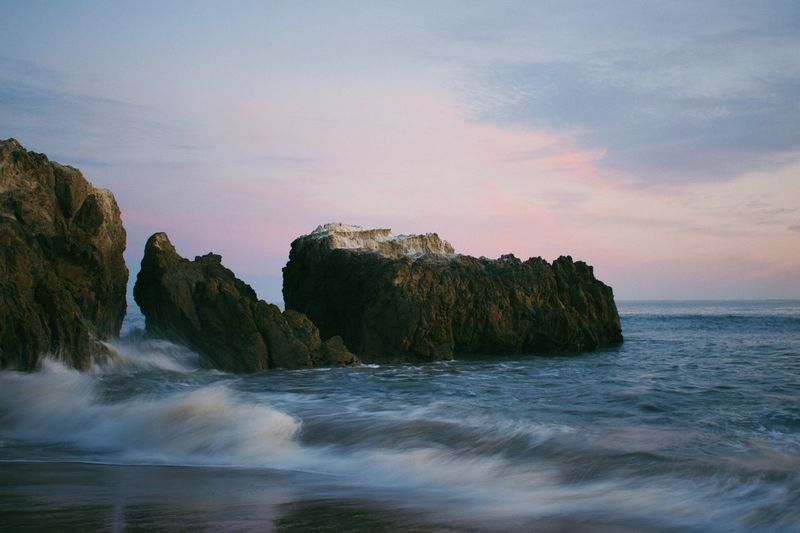 Motion Water Sea Beauty In Nature Sky Scenics - Nature Land Rock Motion Sunset Rock - Object Wave Beach Nature My Best Photo