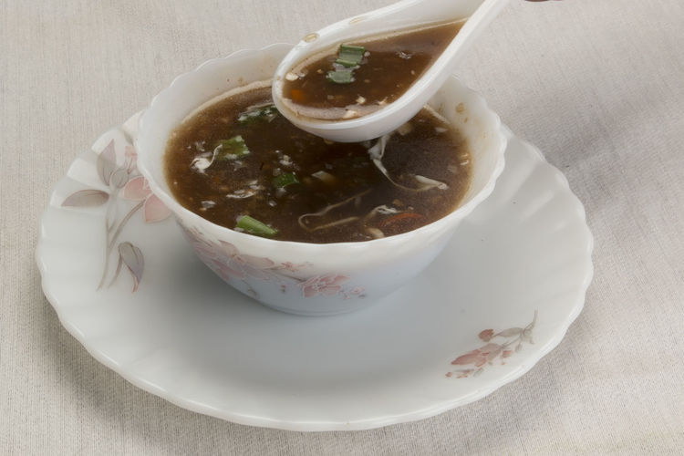 Fresh soup in bowl Bowl Food Food And Drink Freshness Healthy Eating Indoors  Manchurian Ready-to-eat Soup Table
