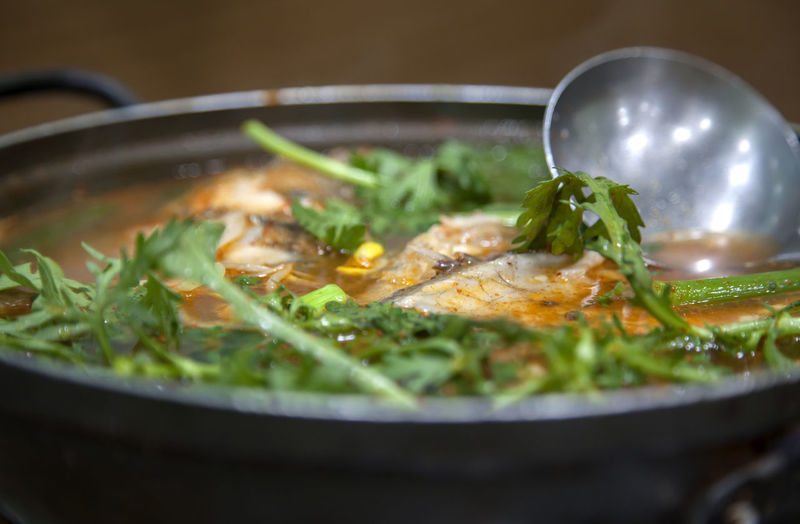 Close-up of fish stew in bowl