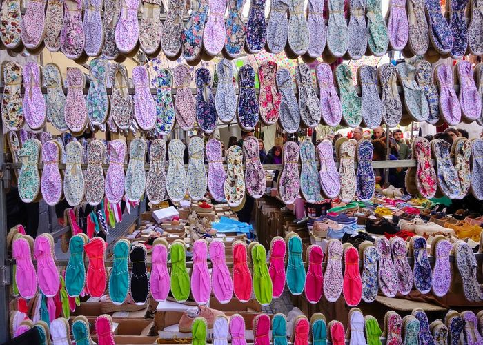 Multi Colored Retail  Choice Large Group Of Objects For Sale Variation Abundance Arrangement Market Business Full Frame No People Retail Display Market Stall Textile Collection Backgrounds Store Sale Madrid Rastro Mercado Espadrilles  Shoes Casual Street Market Souvenir Bazaar Various Fabric