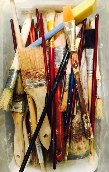 EyeEmNewHere Paintbrush Indoors  No People Work Tool Close-up Palette Day Art Is Everywhere Working With Hands Fun Beauty In Ordinary Things Iphonephotography Dried Paint Paint Supplies Bristles Learning Creativity