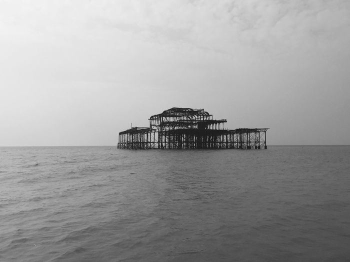 Abandoned pier in Brighton Water Sky Sea Horizon Over Water Horizon Architecture Built Structure Tranquil Scene Tranquility Waterfront Beauty In Nature Beach Stilt No People Outdoors Land Nature Scenics - Nature Day EyeEmNewHere