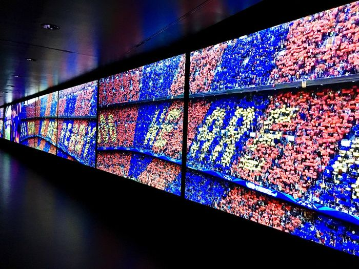 Camp Nou Blue Color Red Color Experience Museum FC Barcelona Barcelona Football Multi Colored Architecture Pattern Indoors  Built Structure No People Stained Glass Wall - Building Feature Low Angle View Wall