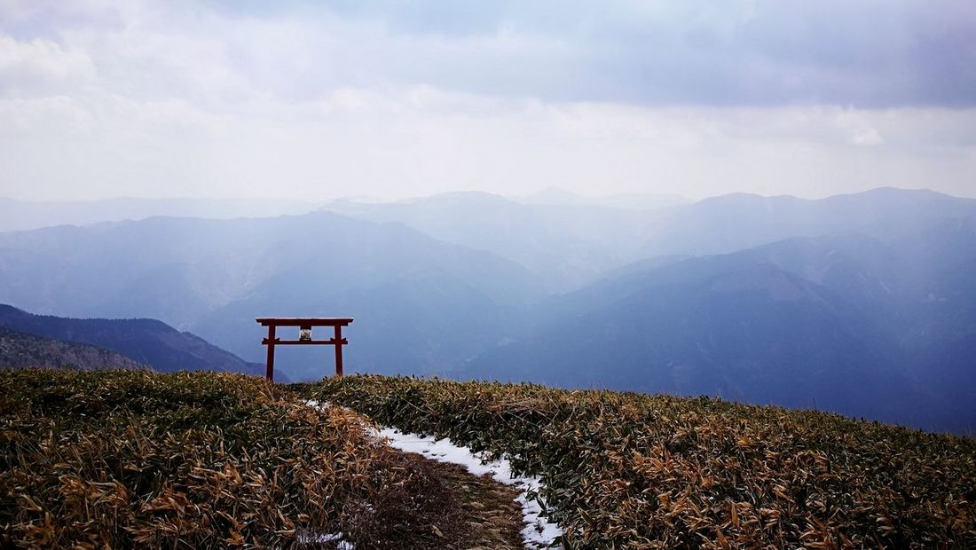 Small shrine on the top of the mountain Nature Torii Gate Small Shrine Shrine Cloud Mountain Sky Landscape Mountain Range The Traveler - 2018 EyeEm Awards