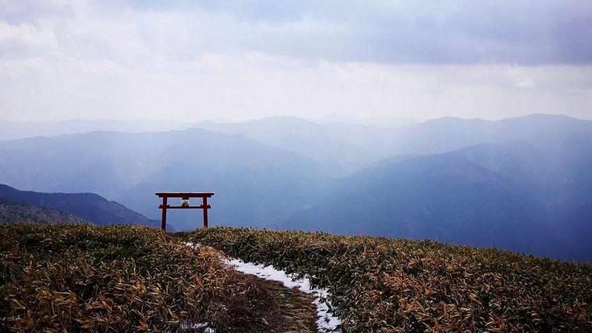Small shrine on the top of the mountain Nature Torii Gate Small Shrine Shrine Cloud Mountain Sky Landscape Mountain Range The Traveler - 2018 EyeEm Awards