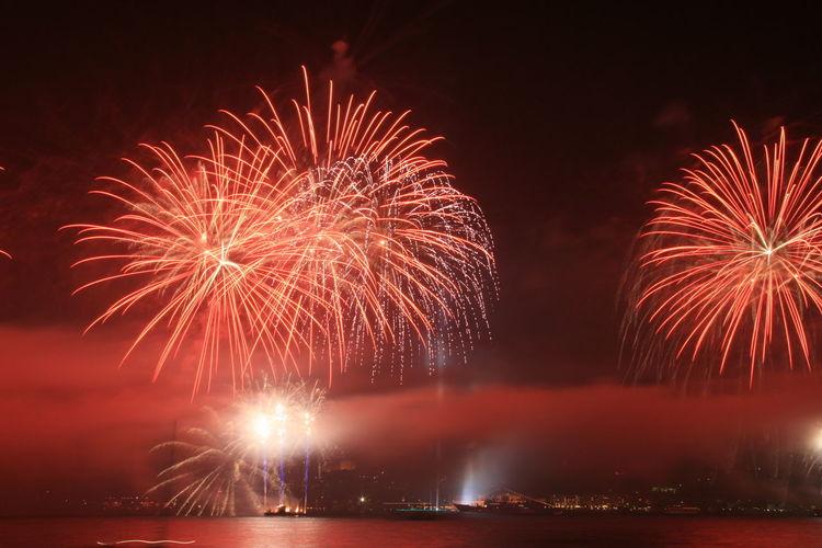 Firework display in sky over sea at night