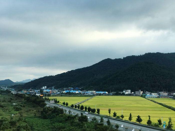 On a running bus Jeollanam Sky Mountain Farmland Gangjin Scenery