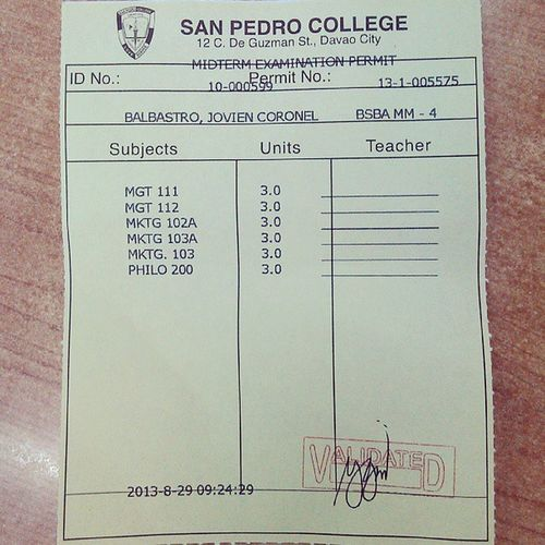 Pang midterm exam Permit