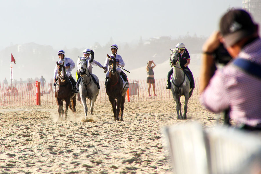 Adults Only Beach Competition Day Event Full Length Group Of People Horse Horse Racing Magic Millions Outdoors People Photographer Real People Sand Sports Race Travel Working Animal