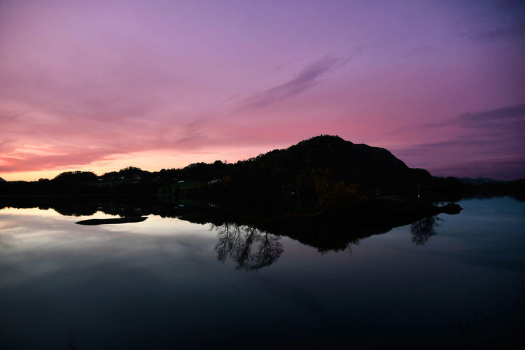 Vakker Norge Reflection Water Sky Sunset Scenics - Nature Tranquility Tranquil Scene Beauty In Nature Lake Cloud - Sky Nature No People Silhouette Waterfront Idyllic Tree Plant Non-urban Scene Dusk Outdoors Purple