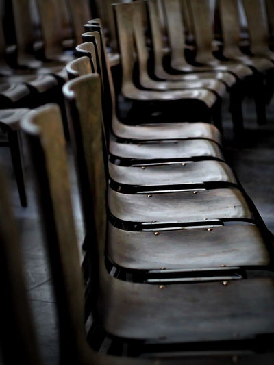 forever gone Chair Church Empty Chairs Gathering Grief Lost Past Arrangement Chairs Close-up Day Food And Drink Industry In A Row Indoors  Large Group Of Objects Missed No People Repetition Togetherness Your Place