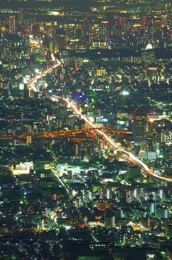 Illuminated Full Frame Night Cityscape Japan Nightview OSAKA Nightphotography Landscape Urban Skyline Building Exterior City High Way Business Finance And Industry High Angle View 阪神高速