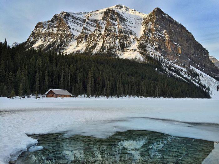 Lake Louise,Alberta Cabin In The Woods Cabin Banff National Park  Frozen Lake Lake Lake View Mountains Mountain Range Sunrise Lake Cabin