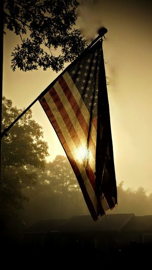 Sunset No People Flag Sky Sun Outdoors Day Nature Close-up Patroit Pride USA FLAG Sunrise In America American Flag Foggy Morning New Jersey, USA