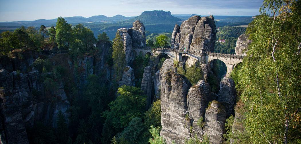 Bastei bridge and rocky mountains at saxon switzerland