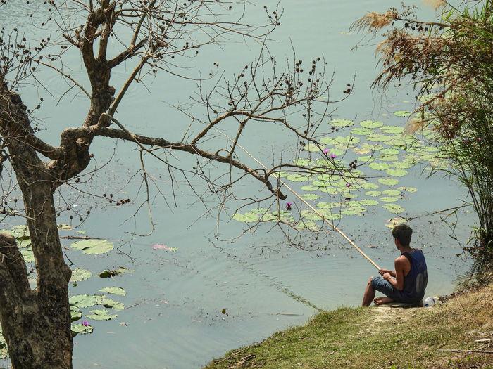 Man sitting on tree by lake