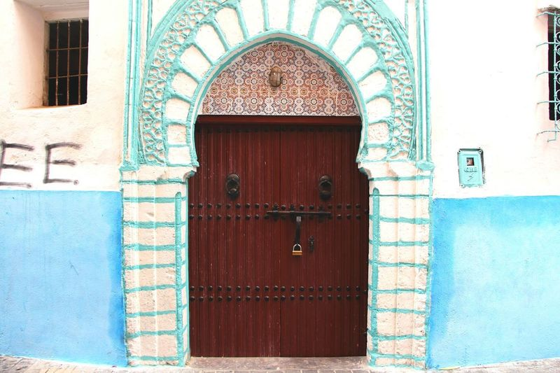 Door Entrance Architecture Closed Façade Doorway Morocco MoroccoTrip Moroccan Style Morrocan Architecture Casablanca CasablancaStreets Color Colorful Blue Wood - Material Old-fashioned Travel Exoticism Built Structure Day Outdoors Building Exterior No People Close-up
