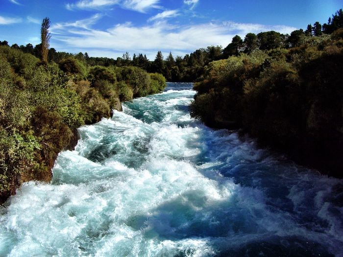 Huka Falls, NZ Water Beauty In Nature Nature Scenics Sea Sky No People Motion Tranquil Scene Tree Outdoors Tranquility Day Wave Waterfall Power In Nature New Zealand Taupo