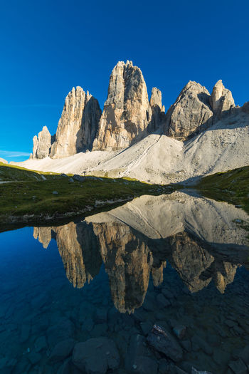 Reflection of Tre Cime di Lavaredo Beauty In Nature Blue Clear Sky Dolomites Dolomiti Italy Lake Landscape Majestic Mountain Nature Reflection Rock Formation Scenics Standing Water Symmetry Tranquil Scene Travel Destinations Tre Cime Di Lavaredo Water