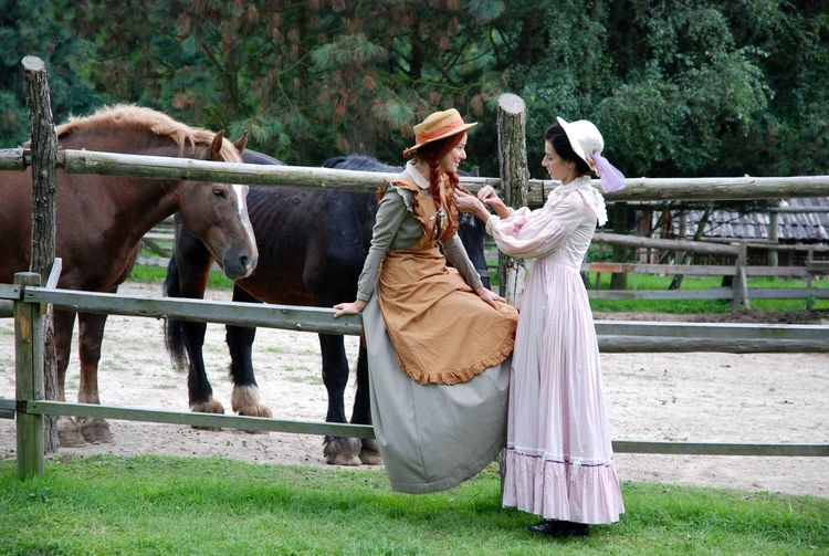 Two girls and horse Horses Afternoon Sunday Novel Vintage History Farm Horse Girls Women Adult Clothing Animal Wildlife Mammal Livestock People Emotion Nature Traditional Clothing Couple - Relationship My Best Photo