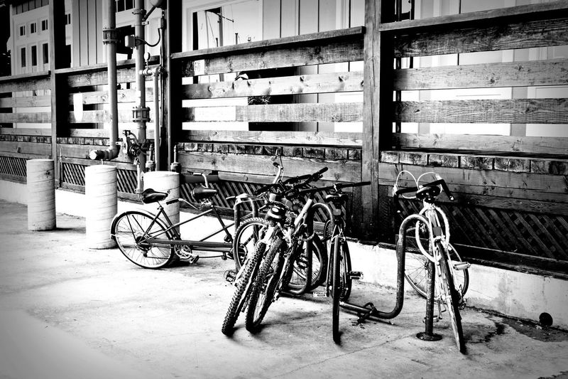 Architecture Bicycle Bicycles Bike Bikes Black An White Blackandwhite Land Vehicle Mode Of Transport No People Outdoors Parked Parked Bicycle Parked Bicycles Parked Bike Parked Bikes Stationary