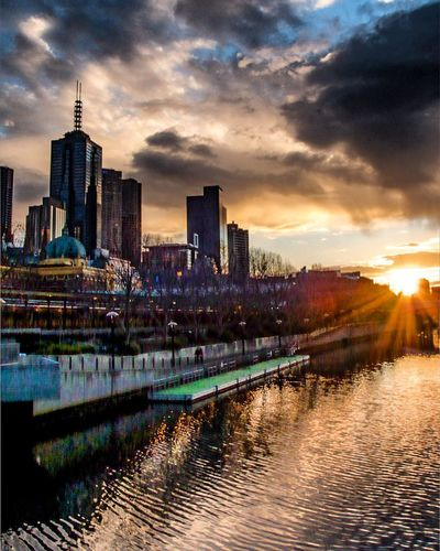 Sunset on the Yarra. Melbourne CBD Architecture Building Exterior Built Structure Sky Building Cloud - Sky Sunset Urban Skyline City Cityscape Water Reflection
