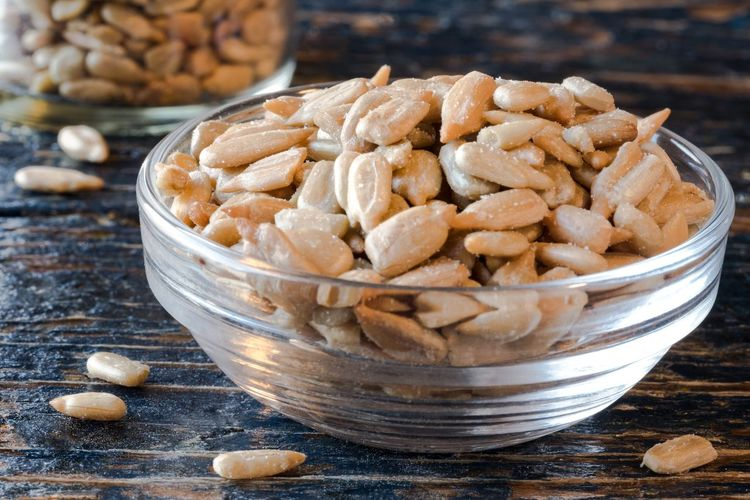 Close-Up Of Roasted Sunflower Seeds In Bowl On Table
