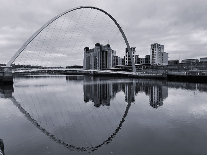 Reflection of buildings on river